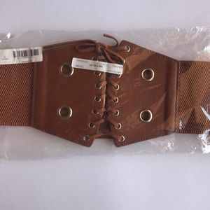 NEW Brown Lace Up Corset Belt